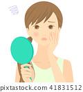 ผู้หญิงที่มีใบหน้าที่มีปัญหาด้วยกระจกมือ 41831512