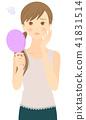 鏡子 手拿鏡 一個年輕成年女性 41831514