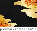 Gold clouds black washi autumn leaves 41834211