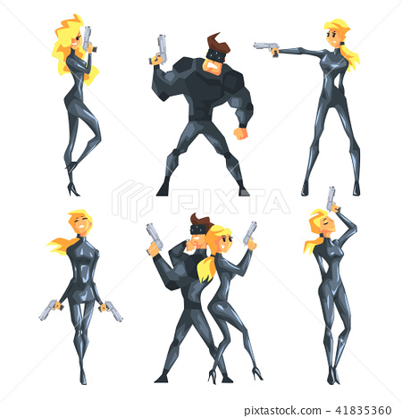 Flat vector set with secret agents in different poses with guns in hands. Sexy blond girl and 41835360