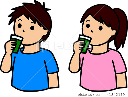 Male and female drinking blue juice 41842139