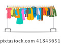 Men and women casual clothes on hanger rack 41843651