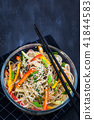 Delicious asian rice noodles with vegetables (wok) 41844583