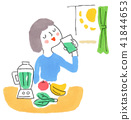 A woman drinking vegetable juice 41844653