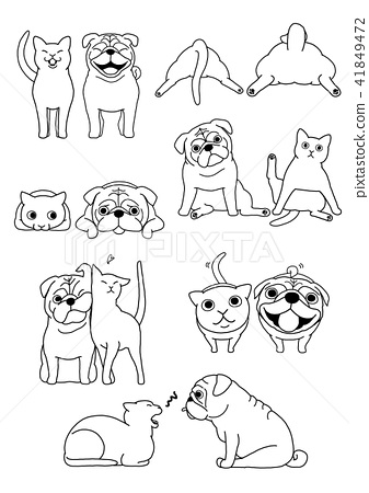 Dog and cat pair, gesture set 4 line drawing 41849472
