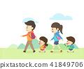Vector - Enjoy spring season with happy family illustration 011 41849706