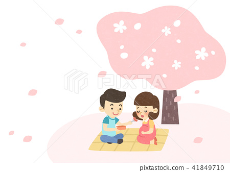 Vector - Enjoy spring season with happy family illustration 009 41849710