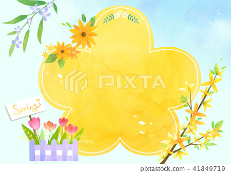 Vector - A card template, frame border for a text with spring elements, invitation, postcards, cards and so on. 003 41849719