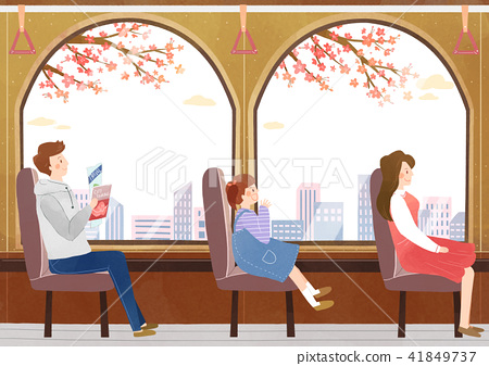 Vector - Go out to the beautiful spring season with family or lover illustration 009 41849737