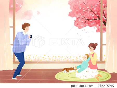 Vector - Go out to the beautiful spring season with family or lover illustration 007 41849745
