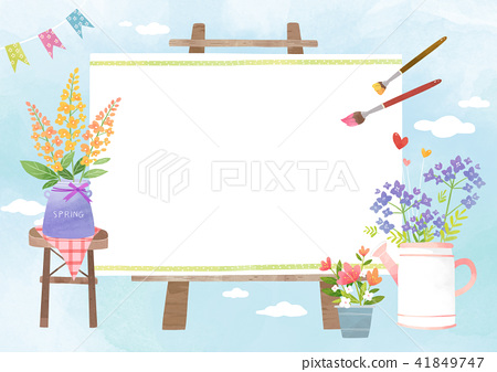 Vector - A card template, frame border for a text with spring elements, invitation, postcards, cards and so on. 006 41849747