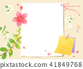 Vector - A card template, frame border for a text with spring elements, invitation, postcards, cards and so on. 002 41849768