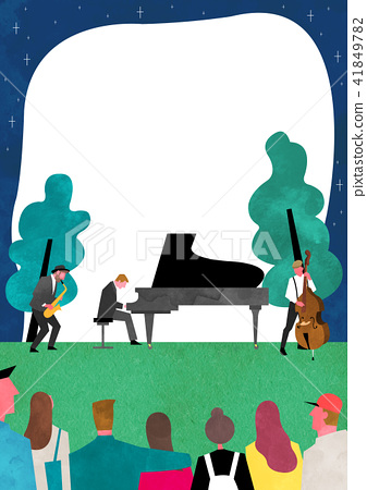 Vector - Open air festival background, group of people partying illustration 004 41849782