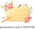 Vector - A card template, frame border for a text with spring elements, invitation, postcards, cards and so on. 001 41849786