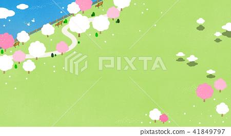 Vector - Beautiful scenes of nature. Springtime flat background 007 41849797