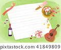 Vector - A card template, frame border for a text with spring elements, invitation, postcards, cards and so on. 009 41849809