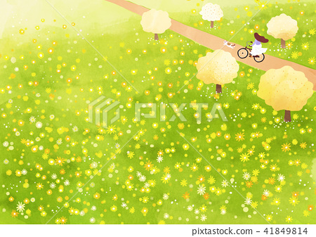Vector - beautiful spring season landscape painting 003 41849814