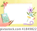 Vector - A card template, frame border for a text with spring elements, invitation, postcards, cards and so on. 005 41849822
