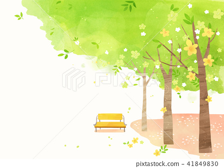 Vector - beautiful spring season landscape painting 009 41849830