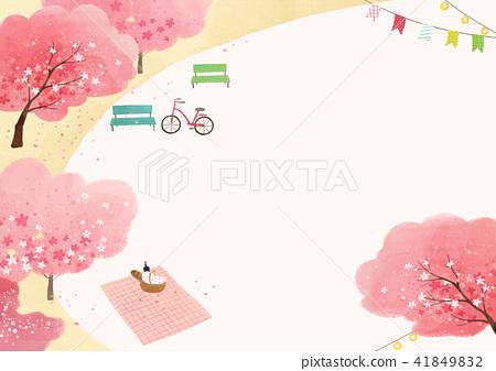 Vector - beautiful spring season landscape painting 007 41849832