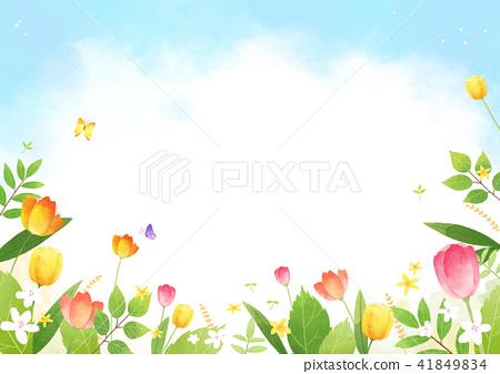 Vector - beautiful spring season landscape painting 002 41849834