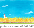 Vector - beautiful spring season landscape painting 005 41849847