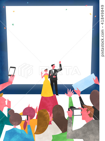 Vector - Open air festival background, group of people partying illustration 008 41849849