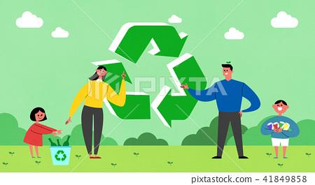 Vector - Eco life vector illustration, flat design for greenery urban element style illustration 006 41849858