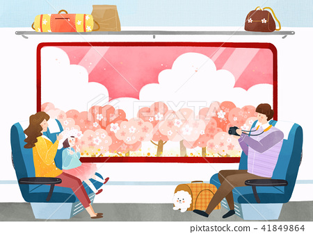 Vector - Go out to the beautiful spring season with family or lover illustration 003 41849864