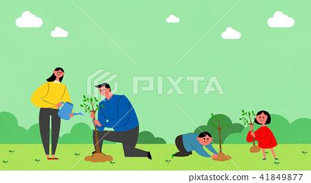 Vector - Eco life vector illustration, flat design for greenery urban element style illustration 003 41849877