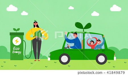 Vector - Eco life vector illustration, flat design for greenery urban element style illustration 007 41849879