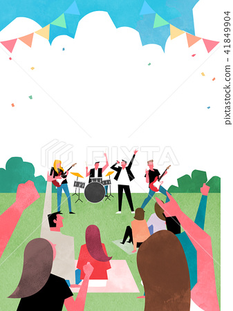 Vector - Open air festival background, group of people partying illustration 001 41849904