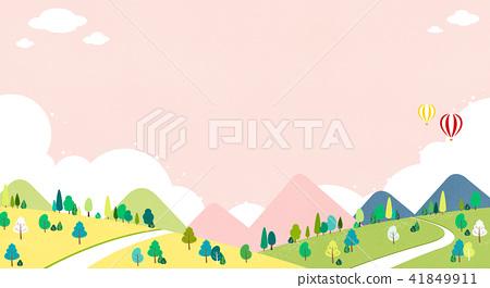 Vector - Beautiful scenes of nature. Springtime flat background 006 41849911