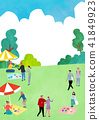 Vector - Open air festival background, group of people partying illustration 011 41849923