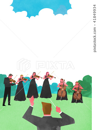 Vector - Open air festival background, group of people partying illustration 007 41849934