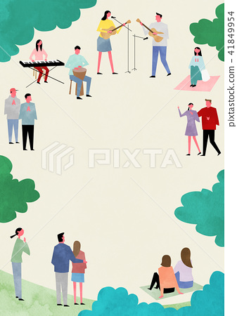Vector - Open air festival background, group of people partying illustration 002 41849954