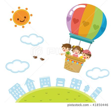 풍선으로 하늘을 나는 아이들 41850446