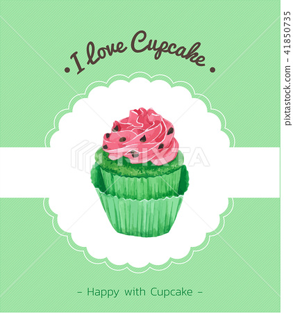 Cupcake greeting card. Vector watercolor style 41850735
