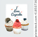 Cupcake invitation card. Vector watercolor style,  41850736