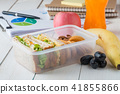 Office desk with supplies, Egg salad with sandwich 41855866