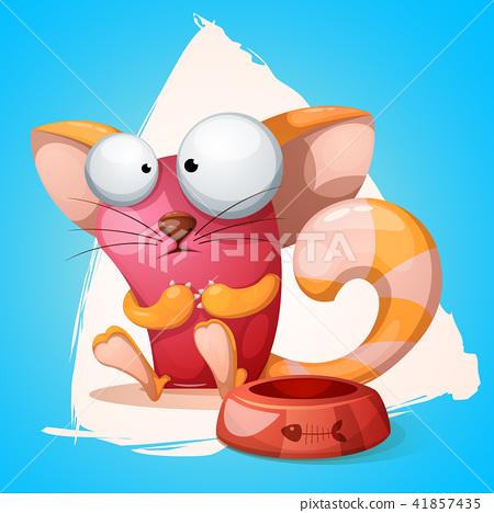 Funny, cute, crazy cartoon characters cat. 41857435