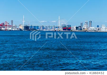 大阪安康河口的風景。靠近大阪。 41860432