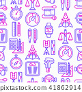 Measuring seamless pattern with thin line icons 41862914