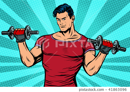 man with dumbbells, healthy lifestyle 41863096
