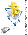 Bitcoin Shopping Cart Computer Mouse Concept 41863429