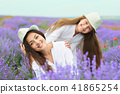 young woman and girl are in the lavender field 41865254