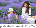 young woman and girl are in the lavender field 41865257