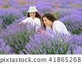 young woman and girl are in the lavender field 41865268
