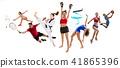 Sport collage about kickboxing, basketball, badminton, taekwondo, tennis, athletics, rhythmic 41865396