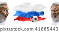 The collage about emotions of football fans of Russia teem and flag isolated on white background 41865443